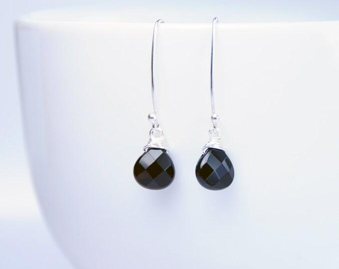 Black Onyx Earrings, Gemstone Earrings, Black Stone Earrings, Silver Hooks Earrings, Gemstone Jewelry, Bridesmaid, Mom, Fiancée, Grad Gifts