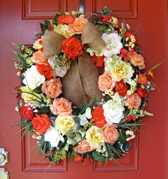 ON SALE  Sunshine Rose Garden Wreath, Yellow, Coral, Orange, Peach, red, X-Large