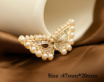 1PCS Bling Golden Crystal Pearl Mask flatback Alloy jewelry Accessories materials supplies