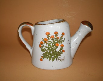 Takahashi Stoneware Watering Can with Orange Flowers, Floral Vase, Earthenware Pottery Flower Pot