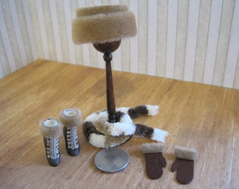 SALE: 12th Scale Dollhouse Ladies Beige Fur Hat, Scarf, Boots and Mittens Set