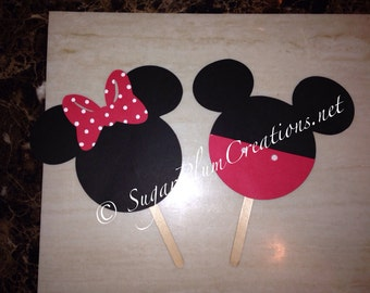 """Two Minnie Mouse or Mickey Mouse die cut 5.50"""""""