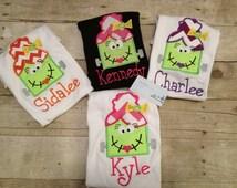 Girly Dracula Halloween Shirt/ monogram Halloween shirt/ personalized Halloween shirt