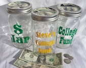 DIY Money Jar Custom Mason Jar Travel College Change Jar IRS Fund Bank (Design your own) Savings Jar Nickel Coin Bank Grad Gift 32oz Large