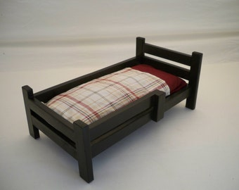 Wood Doll Bed,18 inch Doll Bed, Doll Furniture, Girls Toy, Wooden Doll Bed,Modern Doll Bed