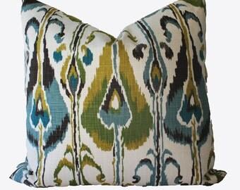 Decorative Designer Ikat, Teal, Aqua, Gold, Green, 18x18, 20x20, 22x22 or lumbar, Throw Pillows
