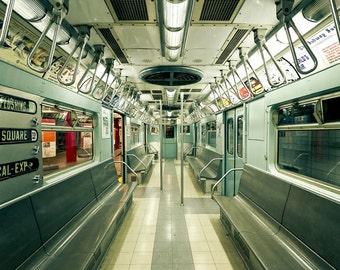 Metal Wall Art, Vintage NYC Subway Photo, Mint Green Ivory, Large Wall Art, Metal Print, New York City, Train Photography, Times Square