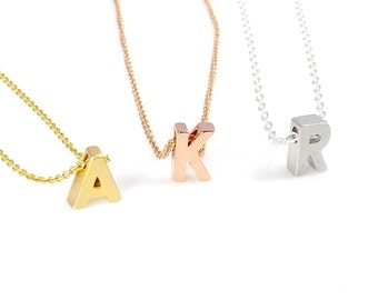 Personalized necklace, Initial necklace, Pendant Necklace - Petite 3D letter necklace-Silver necklace, Gold necklace, Rose gold necklace