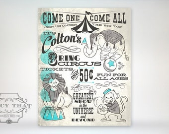11x14 art print - Vintage Inspired Custom Name Circus Poster As Seen in Land of Nod - Monkey / Elephant / Lion - Nursery / Playroom