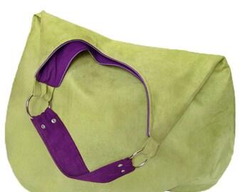 green PLUS - shoulder hobo bag, intensely colored tote bag