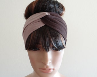 Tan And Brown Headband.Head Wrap