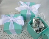 Favor Boxes Aqua Turquoise Blue Teal Robins Egg Wedding Shower Favors Birthday Favors 2 x 2 x 2 w Lids and Ribbon Any Color Turquoise