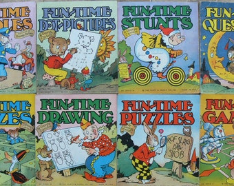 8 1937 Platt & Munk Books FUN-TIME Puzzles, Games, Mazes
