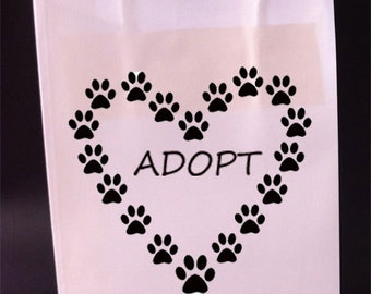 Adopt a Dog or Cat Gift Bags Paws Heart Set of 4