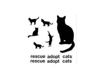 Cats Kittens Vinyl Decals  Rescue Adopt  Vinyl Wall Decal Stickers