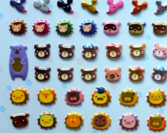 Japanese / Korean Puffy Sticker- Animals