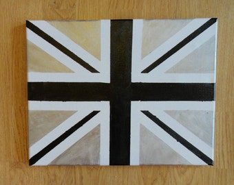 """Black and Silver Union Jack Painting 11"""" x 14"""""""
