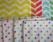 PRICE REDUCTION - Burp Cloths - Set of 5 - Summer Time Chevron and Dot