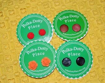 Vintage Button & Flower Earrings