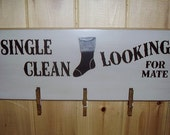 Single Clean Looking For A Mate Lost Socks, Laundry Room, Handmade, Wood Sign