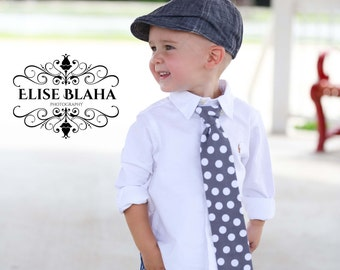 Grey and White Polka Dot tie in wide width for Newborn to boys ages 10/11by GreenStyle