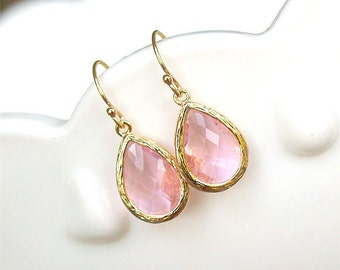 Pink Drop Earrings in Gold - Gold Filled Earwire - Blush Pink Earrings - Light Pink Earrings - Pink Bridesmaid Gifts