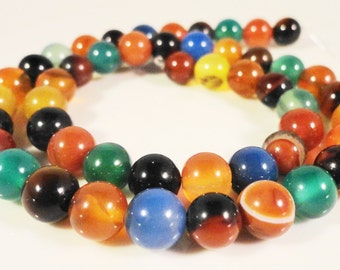 "Agate Gemstone Beads 8mm Round Multicolor (Dyed) Agate Semiprecious Stone Beads for Jewelry Making on a Full 14 1/2"" Strand with 48 Beads"