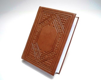 Miniature Leather Book, hand tooled, medieval style