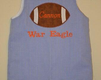 Custom made Personalized Monogrammed Gingham Football Themed Jon Jon, Romper