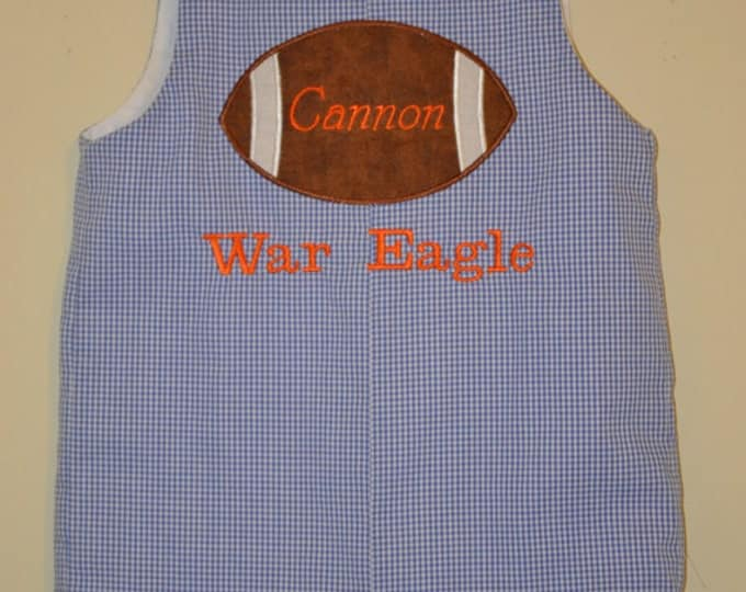 Featured listing image: Custom made Personalized Monogrammed Gingham Football Themed Jon Jon, Romper