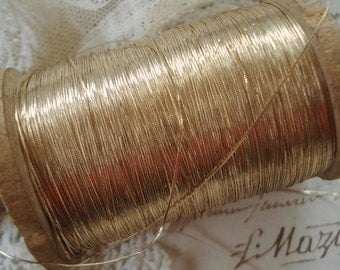 3y Early Antique French Flat Fine Gold Metal Metallic Embroidery Thread Floss Restoration Ribbon Work Lace Needlework Collage Art