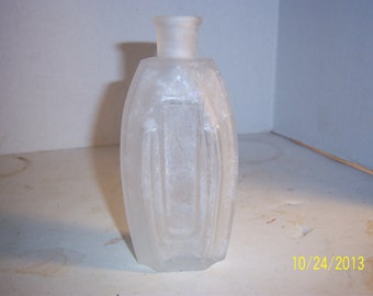 1890's Clear Frosted Decorative Cologne Perfume Bottle 5 1/4 inch