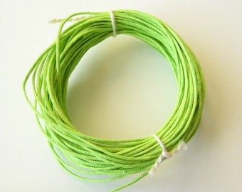 Waxed Cotton Cord 10 yards lime green