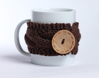 Coffee cozy, Tea cup, Knitted mug cozy, tea cup cozy,  coffee sleeve, brown, warmer