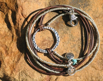 Boho Western - Endless Leather and Silver, Stack Bracelet and/or Necklace