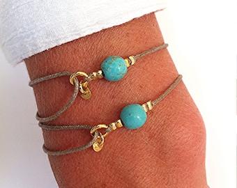 Set of 2 Gemstone Friendship Bracelets - Turquoise on Cotton - Healing Crystal Intention: ' Friendship'