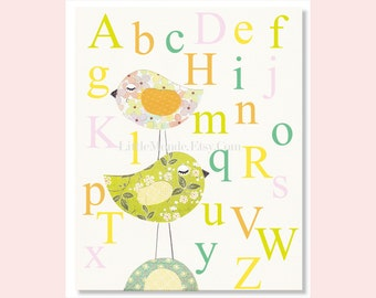 Nursery Alphabet Print, Nursery Educational Print, Baby Girl Nursery Art, Pastel Green Nursery Art, Nursery Art Print,  Nursery Wall Decor