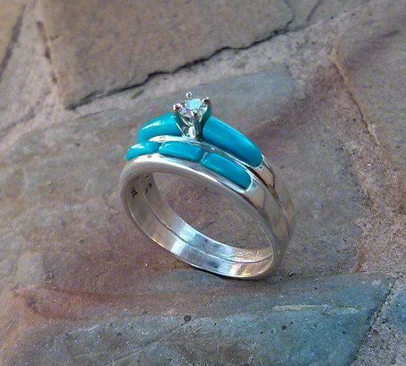 Turquoise Inlay Diamond Engagement Ring And Wedding Band. Jewelry Ebay Wedding Rings. Inlaid Wedding Rings. Hammered Metal Wedding Rings. Fancy Color Diamond Wedding Rings. 9ct Gold Wedding Rings. Sag Wedding Rings. Green Topaz Engagement Rings. 14k Yellow Gold Wedding Rings