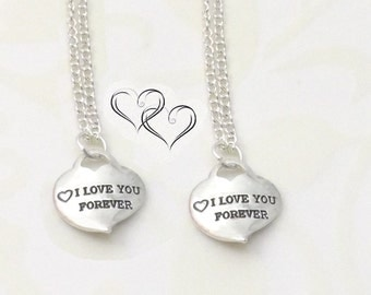 2  I Love You Forever Heart Necklaces - Couples Necklace -  Mr Mrs Wedding Bridal Gift  - His Hers Necklaces -  Boyfriend Girlfriend Jewelry