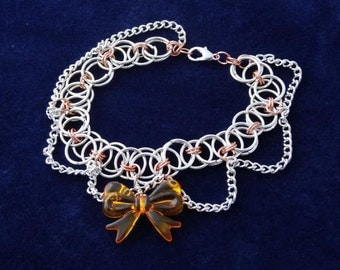 Silver and copper chainmaille bracelet