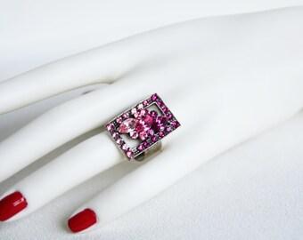 swarovski crystal adjustable silver plated ring pink fuchsia purple crystal swarovski wedding jewelry bridal jewelry bridesmaid gift