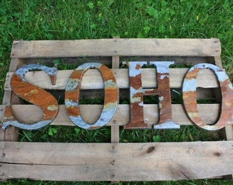 "24"" Rusted metal letter, wedding, vintage vintage chic, decor"