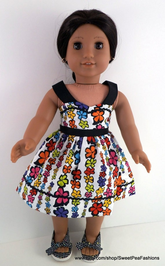 American Girl Doll Flowered Sundress and Shoes