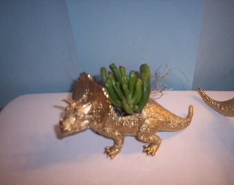 Gold Painted Stegosaurus Dinosaur Planter Plastic Toy and Planted with  Assorted Succulents Can Still Ship for Valentine's Day