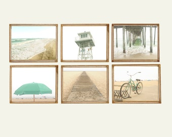 Mint Beach & Boardwalk - Set of 6 Photos Photographs Summer Ocean Shore Sand Sea Coastal Coast Sunshine Aqua Blue Sand Bike Umbrella