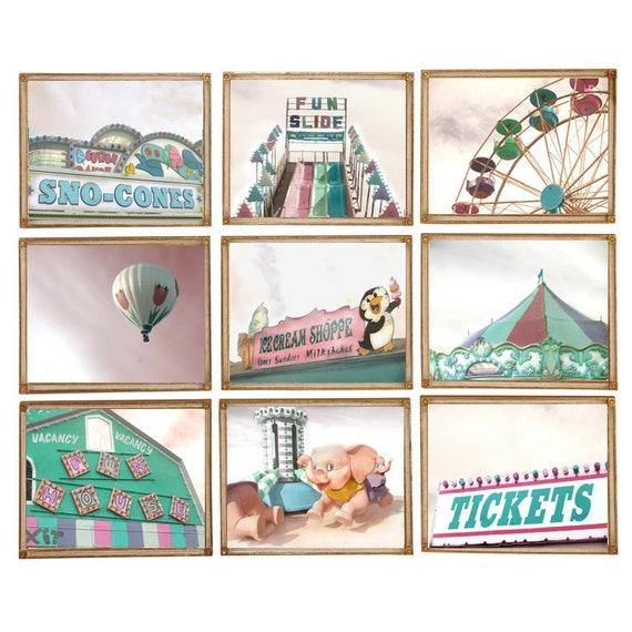 Carnival Collection - Set of 9 Photographs - County Fair Circus Vintage Instant Nursery Decor Midway Rides Carousel Ferris Wheel