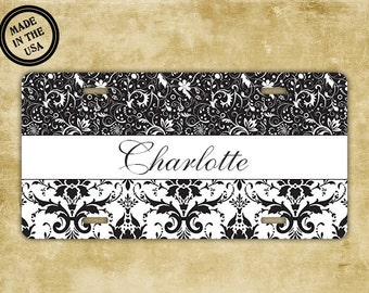 Vanity monogrammed license plate , Black and white damask with name , personalized custom monogram car tag (9733)