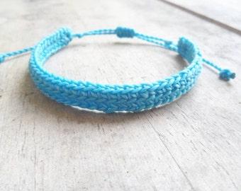 Handmade  Crochet  Blue   Bracelet