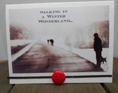 """Christmas Holiday Photograph Greeting Card, 5"""" x 6.5"""", Walking in a Winter Wonderland, Nature, Snow"""