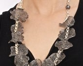 Long Charcoal Weaved Wire Lace
